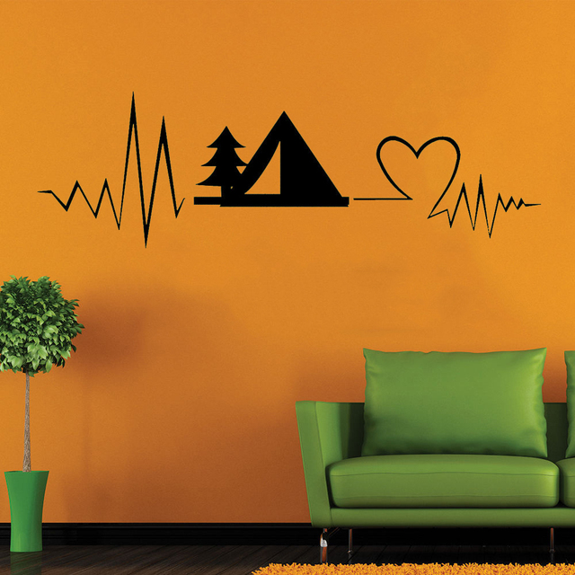 camping decal heartbeat camping decal vinyl sticker & vinyl quote