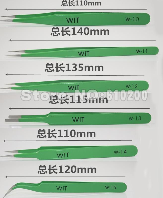Free Shipping WIT 6pcs/set Green Made in Japan High Hardness ESD Antimagnetic stainless Tweezers tools kit Tweezer Set цена