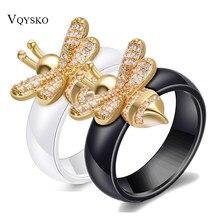 Yeni moda nişan yüzüğü kristal arı yüzükler kadınlar için siyah ve beyaz seramik düğün tasarım altın takı hediye aksesuarları