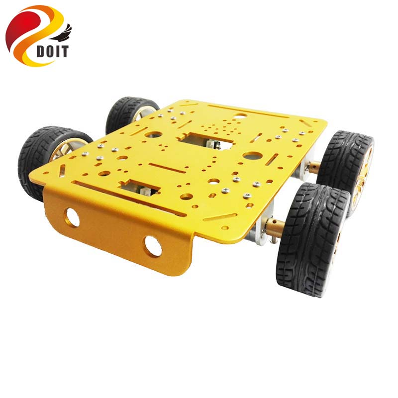Original DOIT C300 Aluminum Alloy Metal 4WD Wheel Car Chassis Development Kit Remote Control DIY RC Toy Smart Track Model original doit silver c300 metal 4wd wheel car chassis development kit remote control diy rc toy smart robot car model