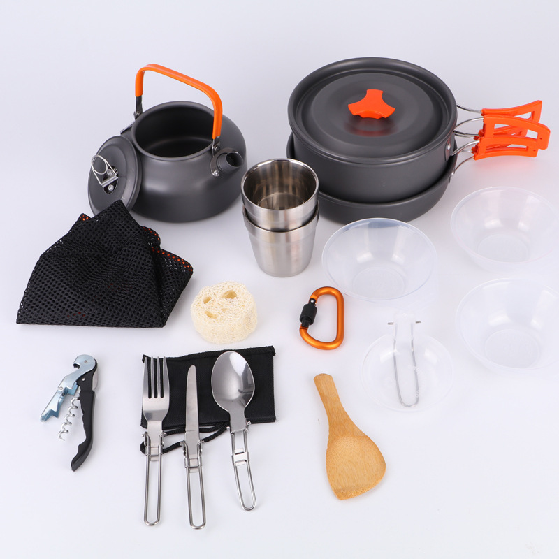 Ensemble de cuisine en plein air tasse de Camping ustensiles de cuisine vaisselle de voyage Pots casserole café bouilloire pique-nique ensemble 2-3 personnes Camping vaisselle A
