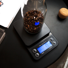 3kg/0.1g Black Coffee Timing Electronic Scale Professional Bar Weighing Multi-function Kitchen Baking 3 kg Max Precision 0.1 g