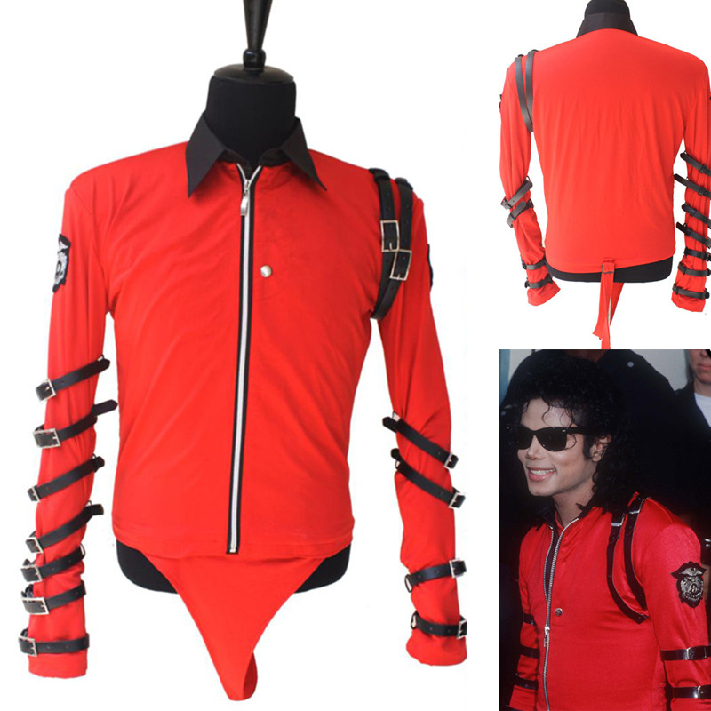 4XL Classic Michael Jackson BAD Novelty RED BODYSUIT (PRO SERIES) Cool for Performance Leotard Shows England Military US Style