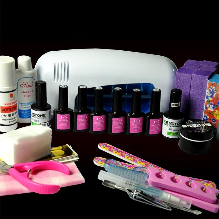 Pro 9W UV GEL White Lamp Nail Kit Polish Manicure Kit Set Tools with 6 UV/LED Color CoatPro 9W UV GEL White Lamp Nail Kit Polish Manicure Kit Set Tools with 6 UV/LED Color Coat