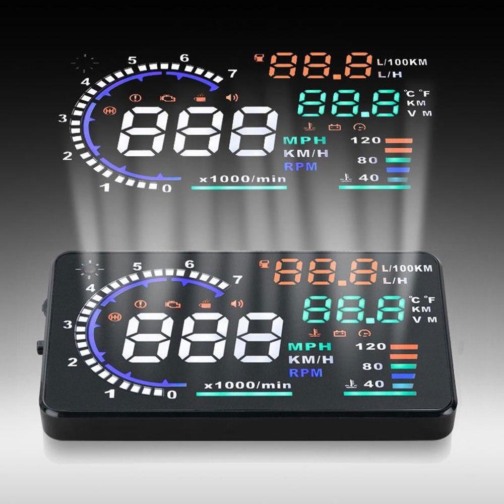 A8 5.5 автомобилей HUD Head Up Дисплей OBD 2 Скорость Предупреждение Системы расход топлива проектор автомобиля OBD II вождение автомобиля данные диаг...