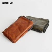 SIMLINE Luxury Brand Genuine Leather Men Wallet Men's Vintage Handmade Vegetable Tanned Cowhide Short Wallets Purse Card Holder