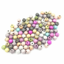 100Pcs Mixed Colourful Spacer Beads Round Wrinkles Acrylic Fashion Jewelry DIY Findings Charms 6x6mm