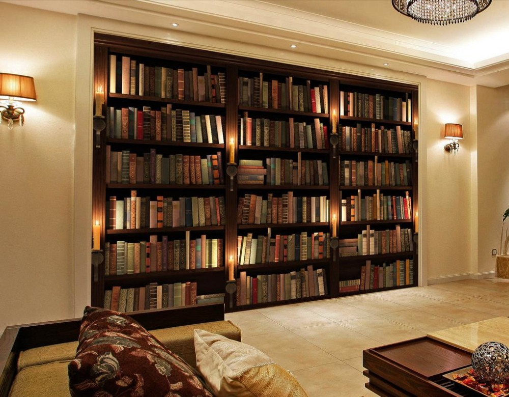 Buy 3d wall murals wallpaper bookcase for Bookshelf mural wallpaper