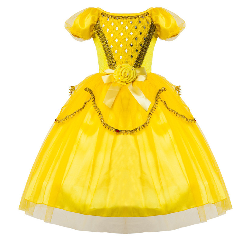 New Belle Princess Tutu Dress Fancy Kids Party Christmas Halloween Costumes Beauty Beast Cosplay Dress Flowers Girls Ball Gown 4pcs gothic halloween artificial devil vampire teeth cosplay prop for fancy ball party show