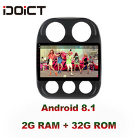 IDOICT Android 8.1 IPS 2G+32G Car DVD Player GPS Navigation Multimedia For JEEP Compass Patriot Radio 2009 2016 car stereo