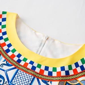 Image 5 - AELESEEN Fashion Runway 2 Piece Set 2018 porcelain Print Twinset Bow Batwing Sleeve Blusa Top + Calf Length Pencil Pants Suit
