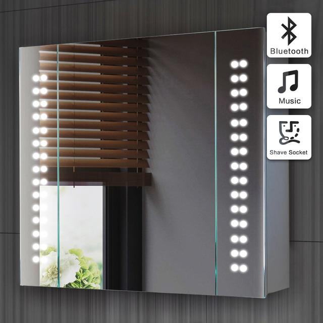 60x65cm Illuminated Bathroom Mirror Cabinet 03 With Sensor And Shaver Socket