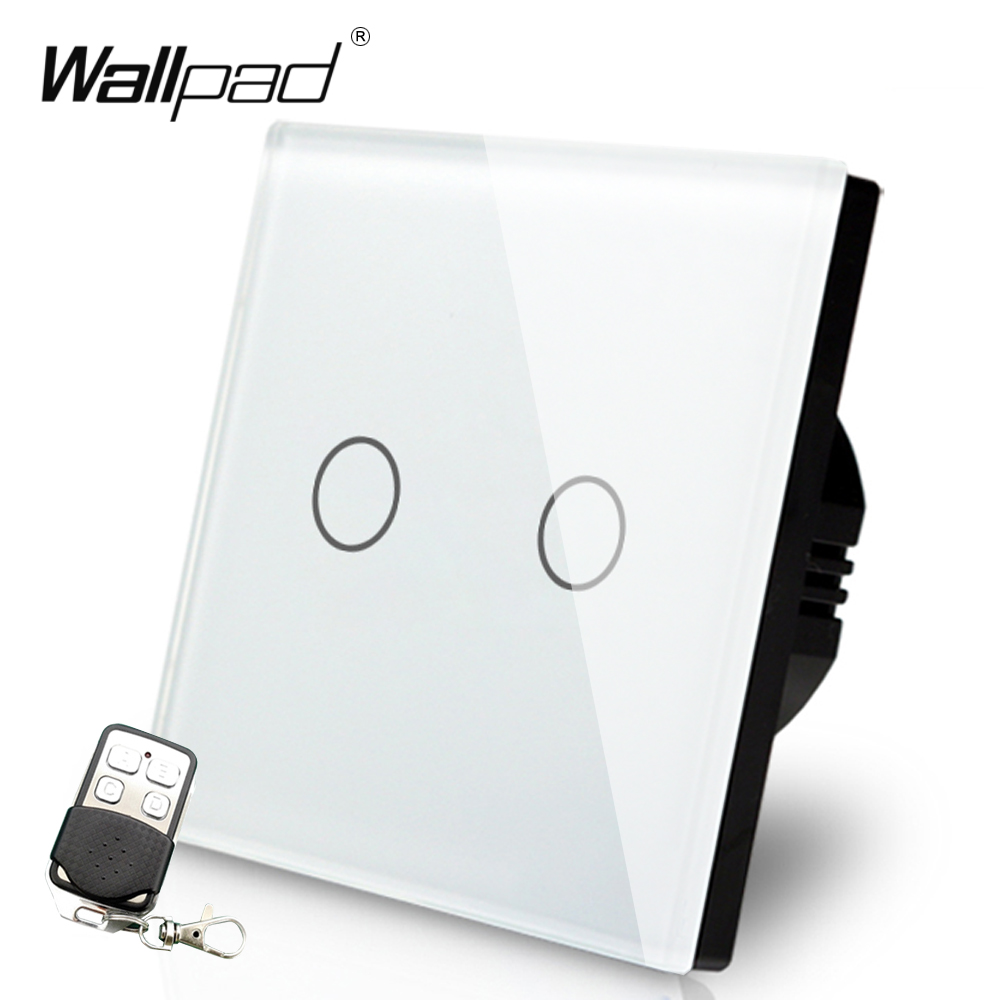 EU UK LED Iight 2 Gang Remote Wallpad White Touch Waterproof Glass 2 Gang 1 Way <font><b>RF433</b></font> Remote <font><b>Control</b></font> Electrical Switches image
