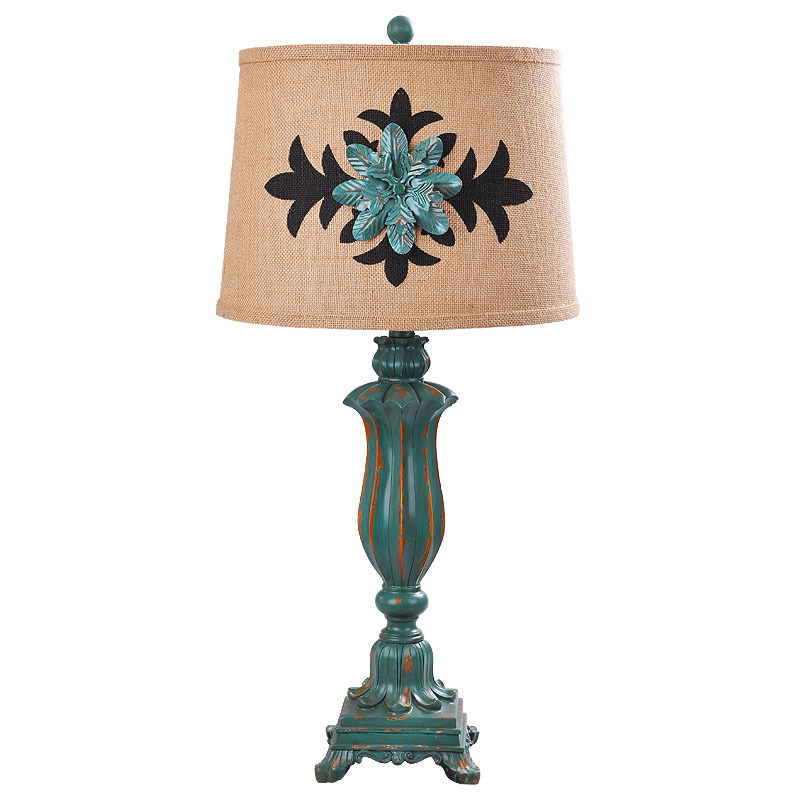 Vintage Cottage Country Resin Fabric Led E27 Table Lamp