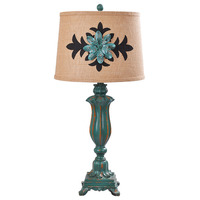 Vintage Cottage Country Resin Fabric Led E27 Table Lamp For Living Room Study Deco H 72cm