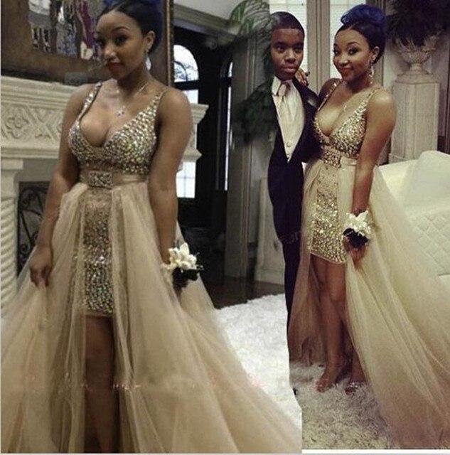 24a82e07db9 Light Gold Sex Plundge Deep V Neck Crystal Beaded Prom Dress Short In Front  Long In Back High Low Party Dress Vestidos De Festa