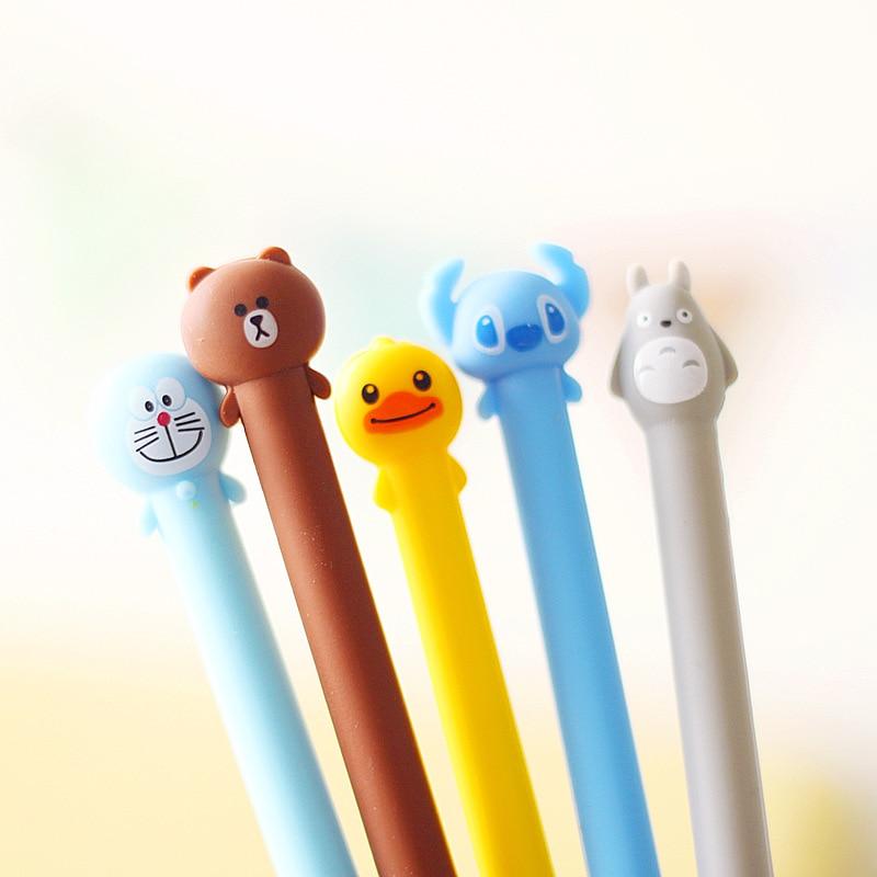 New 0.5mm black Kawaii Cartoon Totoro Gel pens Cute Creative Stationery For Students japanese School Supplies Doraemon pens