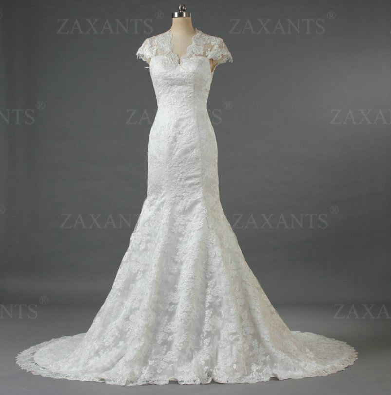 Cw155 gorgeous elegant style cap sleeves backless mermaid for Lace sleeve backless wedding dress