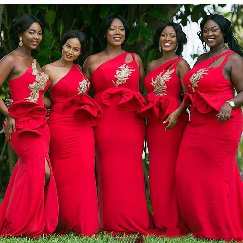 2019 Gorgeous African Red Bridesmaid Dress Mermaid One Shoulder Ruffles  Waist Gold Applique Long Plus Size c1796ebfb7ef