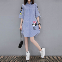 Women 2017 Summer Short Sleeved Loose Mickey Print Dress Femme Fashion Leisure Round Collar Miniskirt Plus