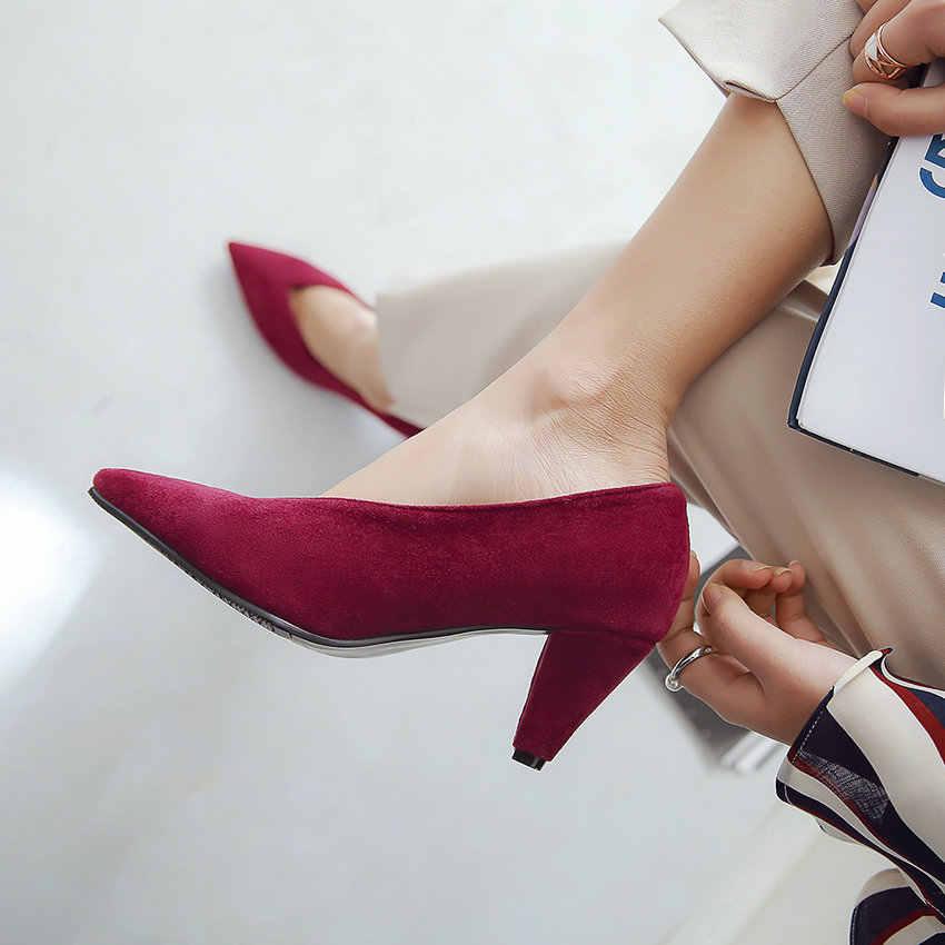 ESVEVA 2019 kadın pompaları üzerinde kayma kare yüksek topuklu ayakkabı muhtasar kare topuklu sivri burun kadın ayakkabı pompaları boyutu 34-43 moda