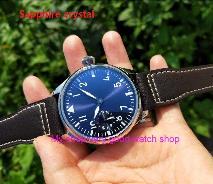 Sapphire crystal 44mm PARNIS light blue dial Asian 6497 17 jewels Mechanical Hand Wind movement men's watch green luminous 401