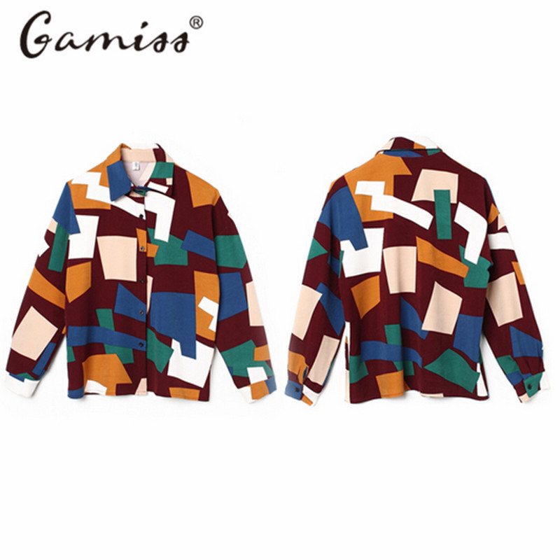 aliexpresscom buy gamiss 2016 new fashion women shirt color block print long sleeves blouse plus size vetement femme women tops office blusas from - Vetement Color