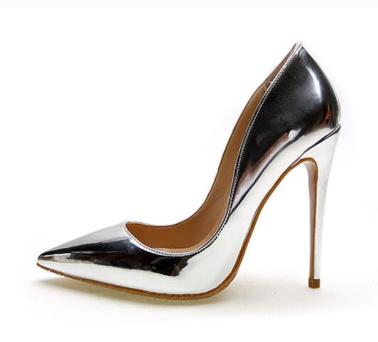 Gullick Brand 12CM High Heels Silver Shoes Wedding Women Pumps Patent  Leather Fashion Women Bridal Shoes Sexy Heels Pumps