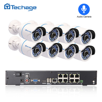 Techage 8CH 1080P POE NVR CCTV System Audio Record 2 0MP 3000TVL IP Camera P2P Waterproof