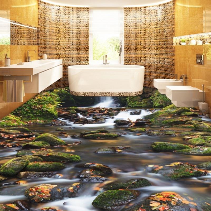 Buy Free Shipping Moss stone Creek 3D flooring painting wallpaper bathroom office studio floor mural