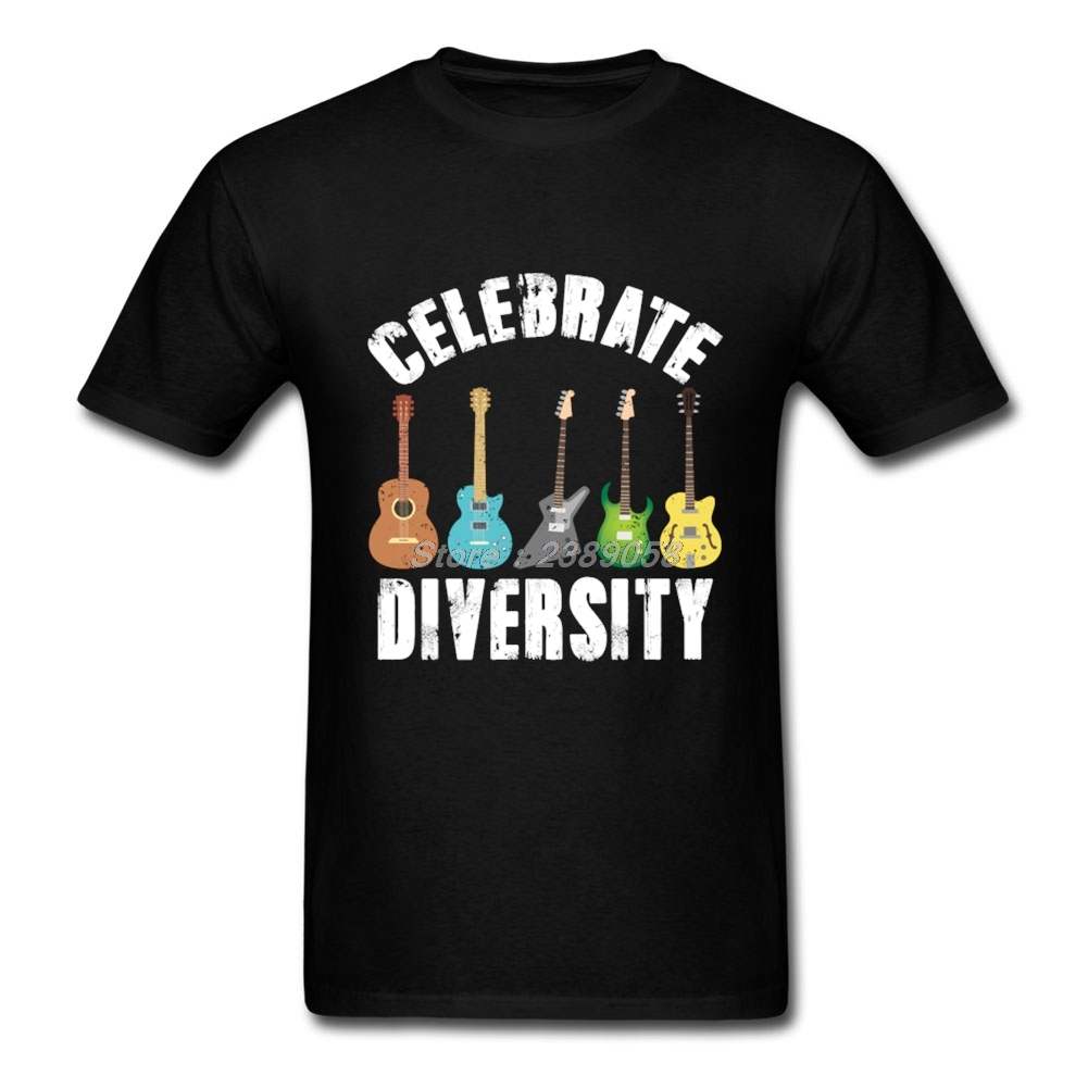 Luxury Brand T Shirts Men Short Sleeve Celebrate Diversity Shirts Vintage Guitar Adult Clothes Plus Size