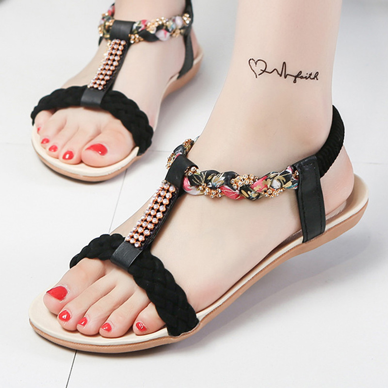 Women Sandals Fashion Women Shoes Crystal Floral Ladies Sandals 2018 Summer Shoes Women Beach Sandals