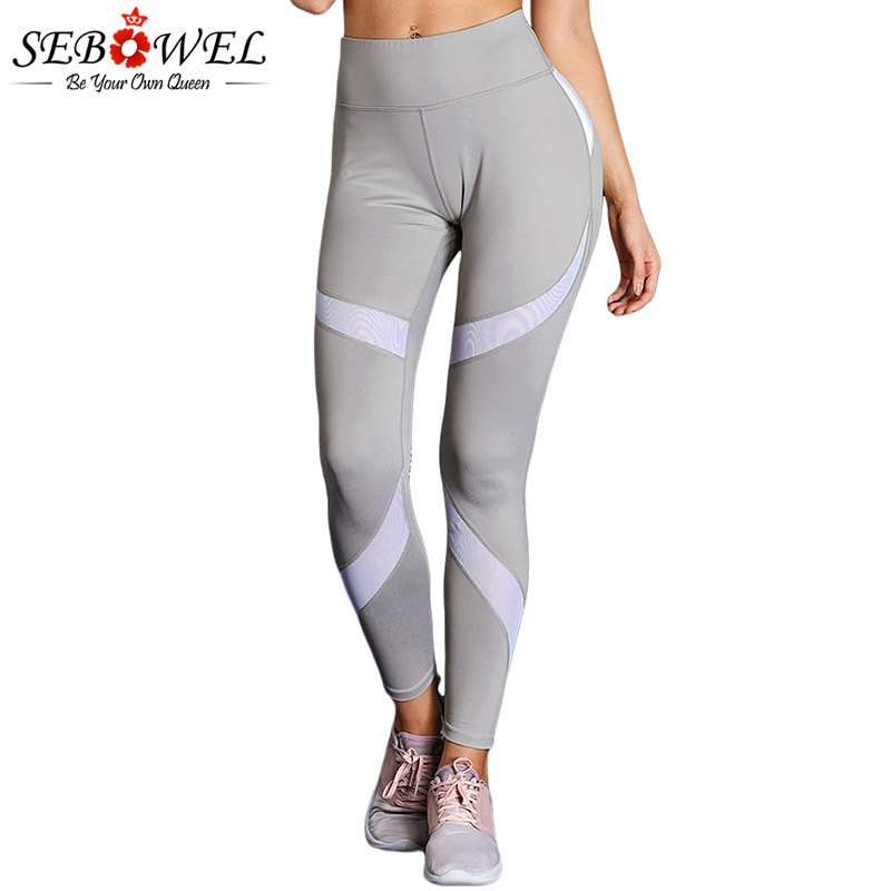 SEBOWEL Gray Colorblock High Waist Yoga Leggings Women Elastic Tights Fitness Slim Active Pants Female Sport Running Trousers 2 3 4 layers high quality large capacity canvas pencil case drawing pens pencil bag portable pencil box school penalties 04856