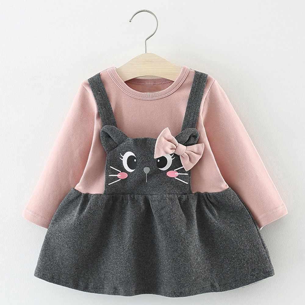 תינוקת שמלת 2019 אביב כותנה O-צוואר ארוך שרוול אונליין תינוקות שמלה לילדה טלאים באורך הברך יילוד שמלה ילדה