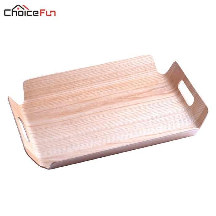 Pilihan Menyenangkan Mewah Meja Bambu Di Tempat Tidur Roti Kayu Nampan Kayu Buah Makanan Sarapan Kue Kopi Teh Melayani Nampan dengan Handle