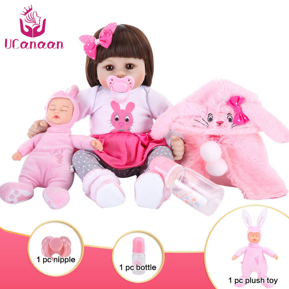 Ucanaan 48cm 18inches Silicone Reborn Baby Doll Surprise Gifts Lifelike Alive Babies Toddler Dolls Toys