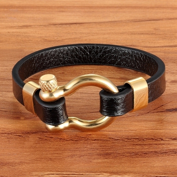 Best Selling New Classic Hip Hop Rock Style Geometric Circle Toggle-clasps Mens Leather Bracelet 19cm/21cm Size Meaningful Gift