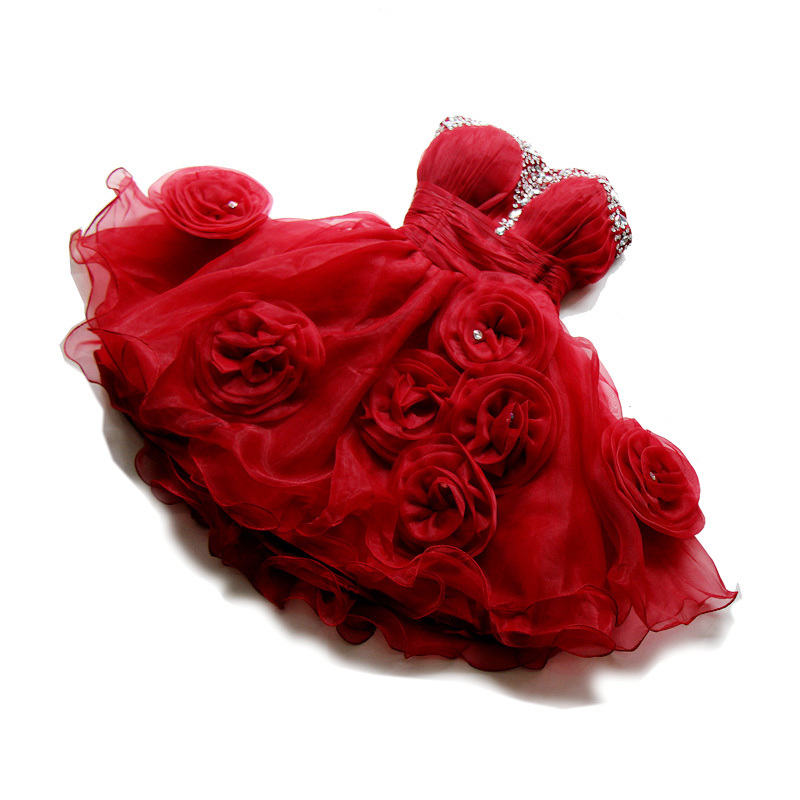 Lovely una línea de novia de organza corto rojo homecoming dress cocktail dress  con rebordear flores party dress
