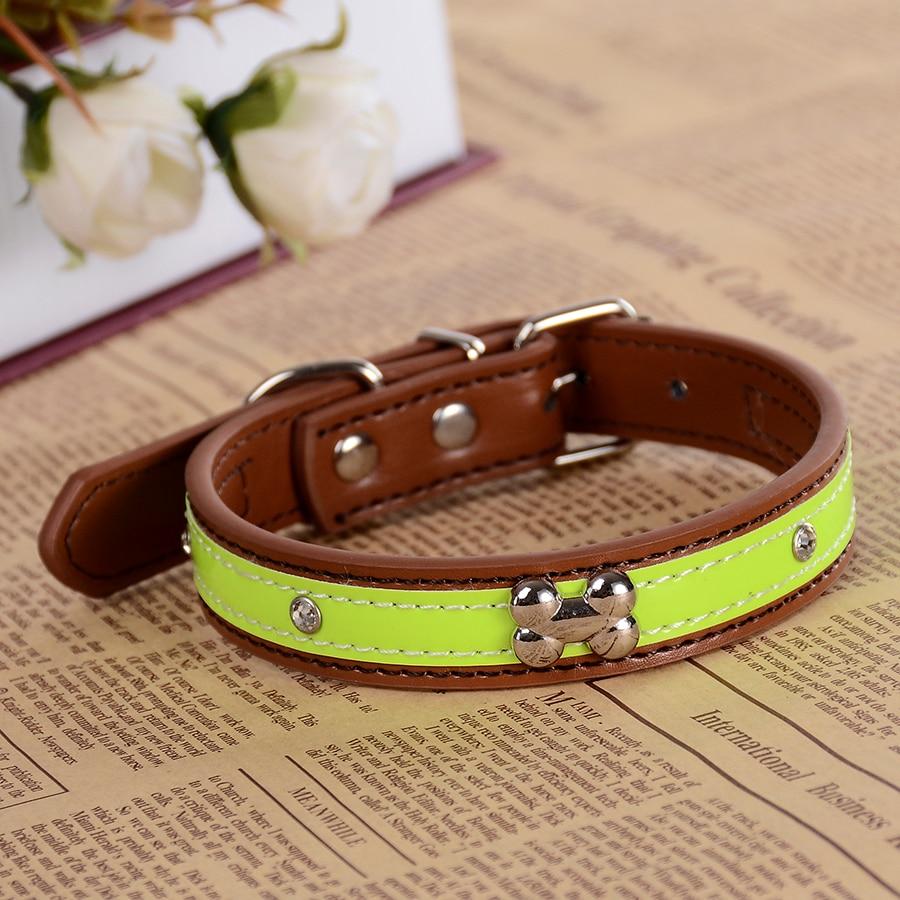 Personalized Kristal Studded Reflektif Kerah Anjing Pu Kulit Untuk - Produk hewan peliharaan - Foto 3