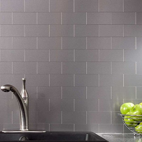 Brushed Stainless Steel Backsplash: Peel And Stick Stainless Steel Backsplash Tiles 3'' X 6