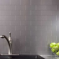 Peel and Stick Stainless Steel Backsplash Tiles 3'' x 6'' Brushed Metal Silver Mosaic 100 Pieces