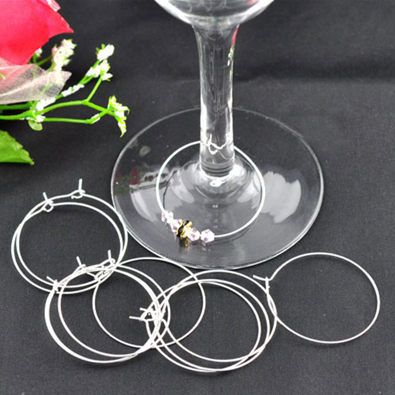100Pcs Silver Plated Round Alloy Wine Glass Rings Earring Hoops Jewelry DIY Component 40x35mm
