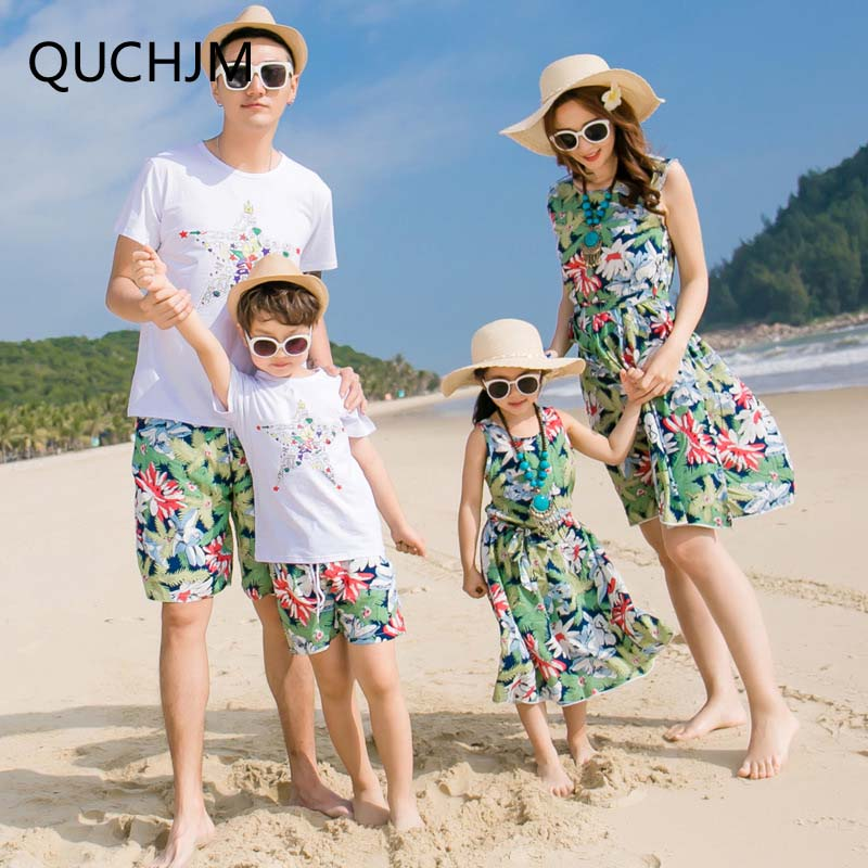 dca1996df8 New Beach Family Matching Outfit Cotton Mother/Mom and Daughter Dress  Clothes Father Son Clothing Sets Family Style Set 3XL