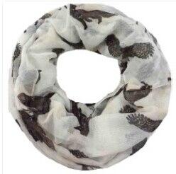 Дикий животные лиса медведь Орел Олень Печать Петля Женская Бесконечность шарф леди подарок аксессуары - Цвет: White