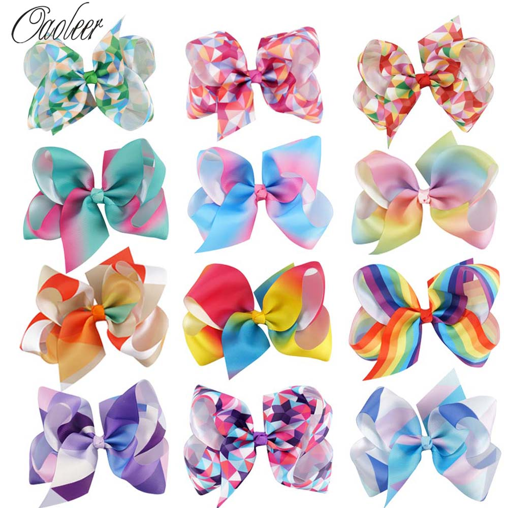 12pcs/lot 5 Grosgrain Ribbon Hair Bows With Alliator Clips Cartoon Boutique Rainbows HairBow Girl Hair Accessories Kids Hairpin 10pcs lot high quality hair band with grosgrain ribbon flower for girls handmade flower hairbow hairband kids hair accessories