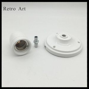Image 2 - בציר קרמיקה תקרת עלה מנורת כבל סט צבעוני e27 e26 קרמיקה מנורת בעל עם תקרת עלה