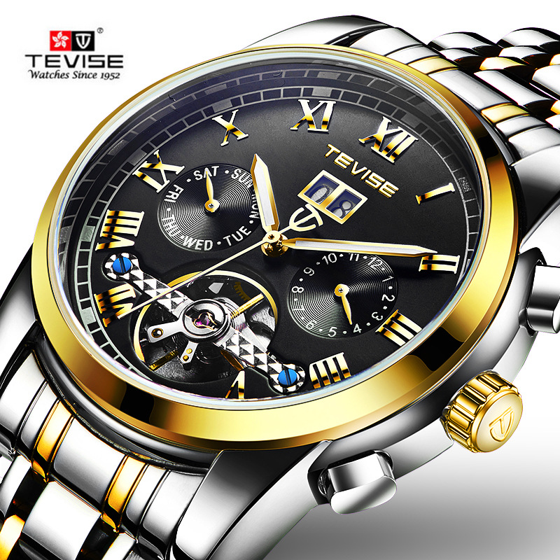 TEVISE luxury brand mens automatic mechanical watches tourbillon fashion sports Full Steel watch Relogio Masculino Wristwatches tevise men watch luxury gold full steel automatic mechanical waterproof watches with date mens wristwatch relogio masculino