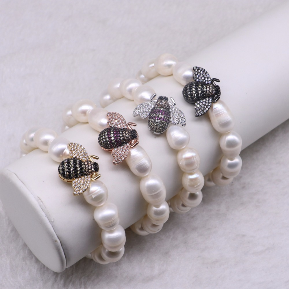 High quality Bugs inset Bracelet Fashion Stand beaded bracelet Mix color bee fashion jewelry Gems for lady 3280