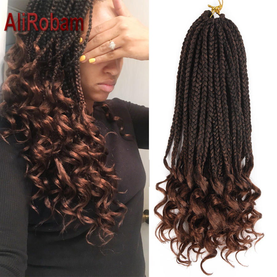 AliRobam Crochet Hair 22Strands Box Braids Roots Loose End 18Inch Ombre Color Synthetic Braiding Hair Extensions Black Brown