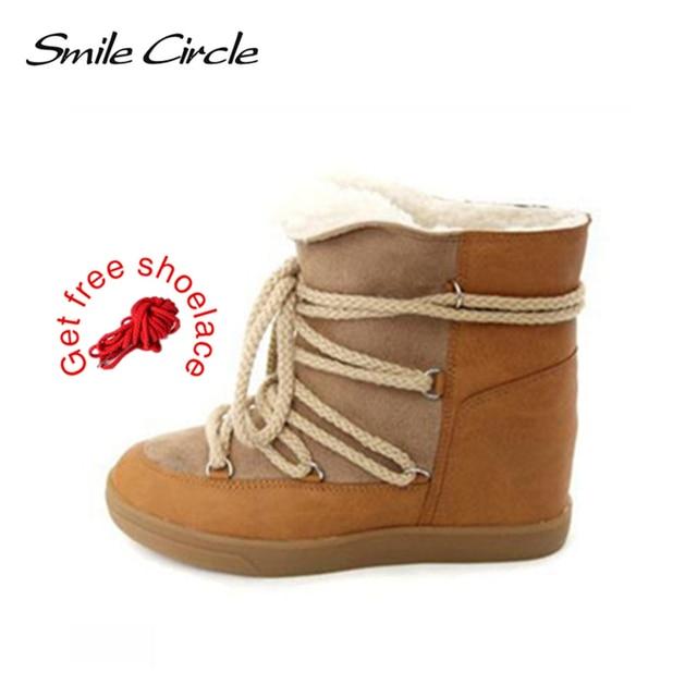Lächeln Kreis 2018 Winter Schuhe Für Frauen Lace-up Wedge Stiefel Hoher absatz der Frauen Aufzug Schuhe Stiefeletten warme Plüsch Schnee Stiefel